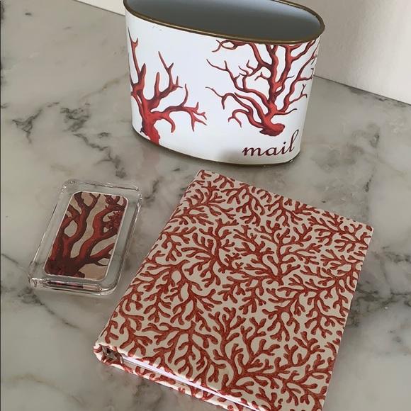 Other - Red Coral Print Desk Set